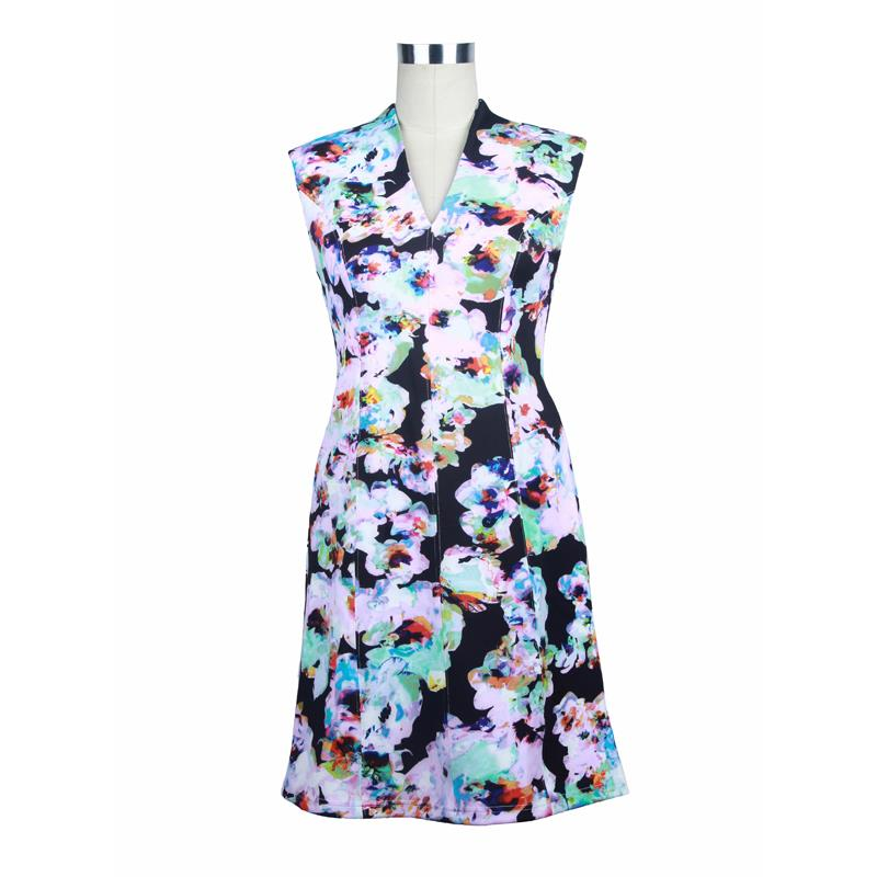 printed scuba short dress  S#25975